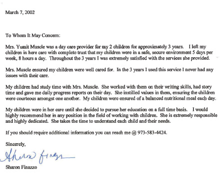 Sharon Finazzo recommendation letter – Little Angels Family Daycare